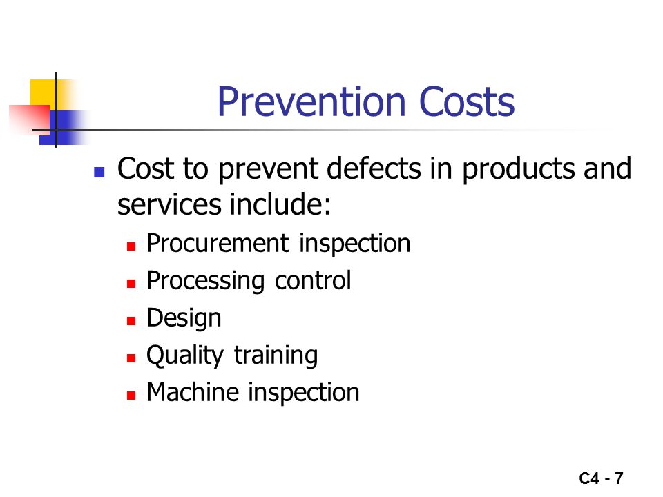 Prevention Costs Cost to prevent defects in products and services include: Procurement inspection.