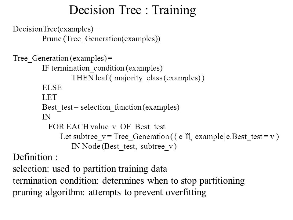 Decision Tree : Training