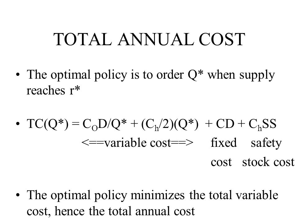 TOTAL ANNUAL COST The optimal policy is to order Q* when supply reaches r* TC(Q*) = COD/Q* + (Ch/2)(Q*) + CD + ChSS.