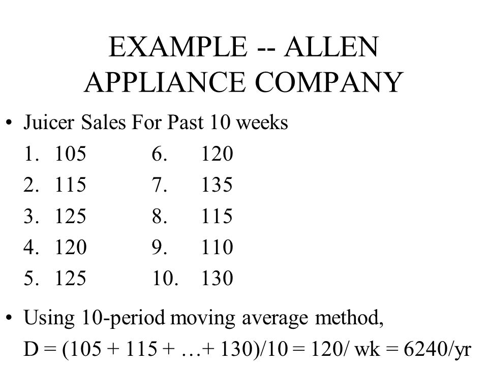 EXAMPLE -- ALLEN APPLIANCE COMPANY