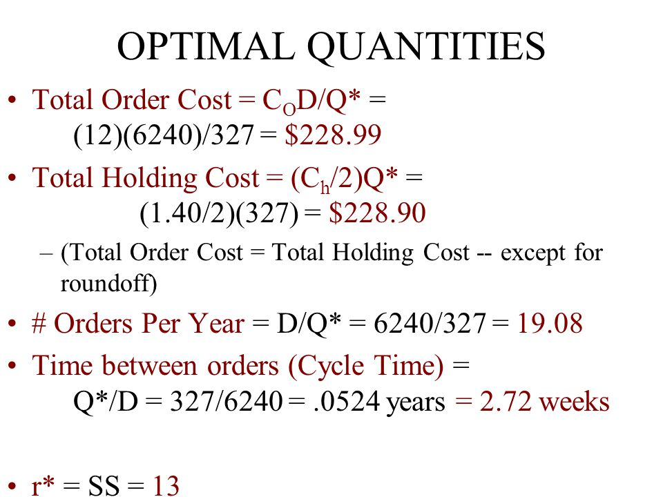 OPTIMAL QUANTITIES Total Order Cost = COD/Q* = (12)(6240)/327 = $228.99.