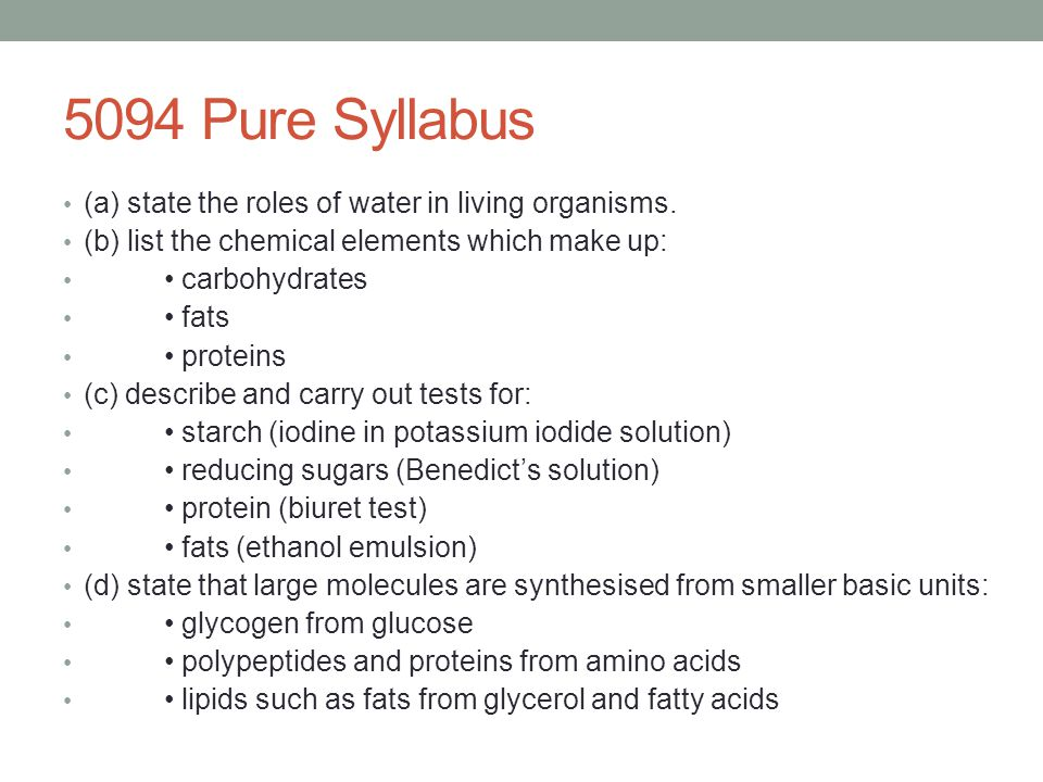 5094 Pure Syllabus (a) state the roles of water in living organisms.