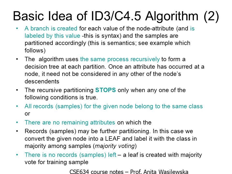 Basic Idea of ID3/C4.5 Algorithm (2)