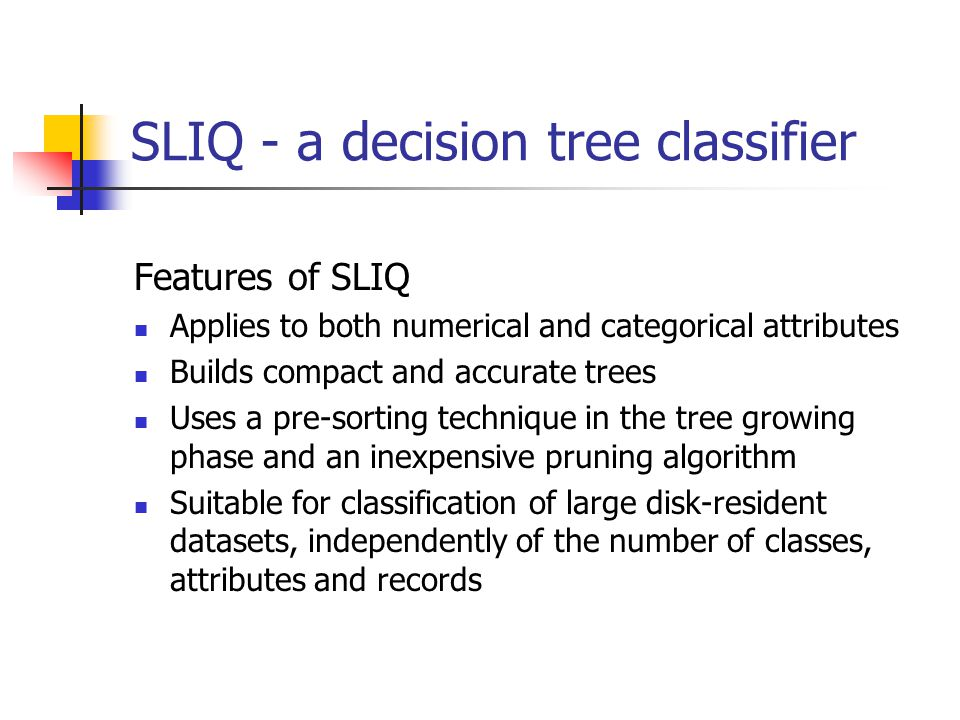 SLIQ - a decision tree classifier