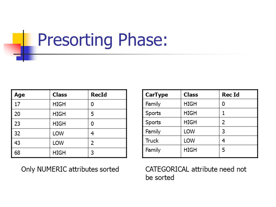 Presorting Phase: Only NUMERIC attributes sorted