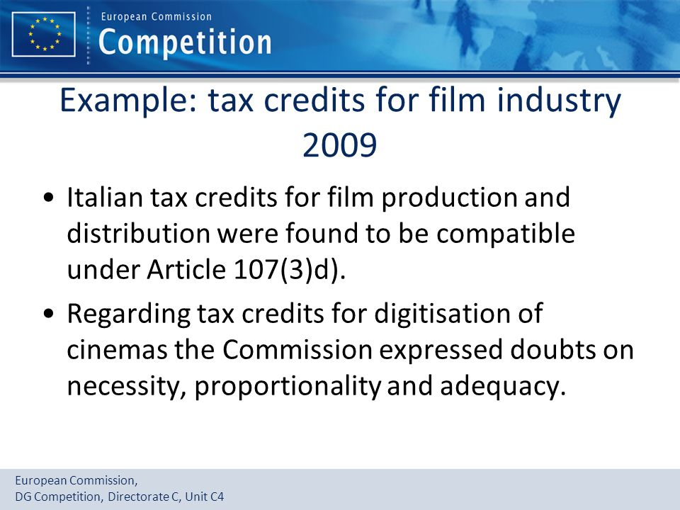 Example: tax credits for film industry 2009
