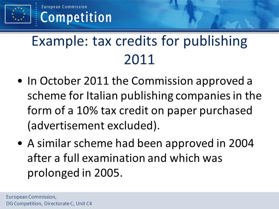 Example: tax credits for publishing 2011
