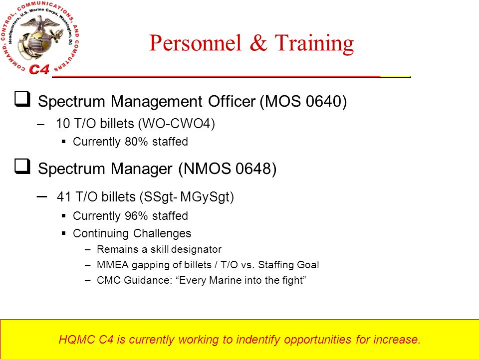 HQMC C4 is currently working to indentify opportunities for increase.