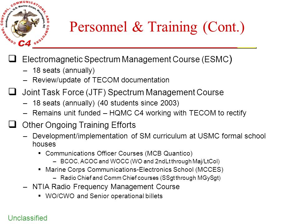 Personnel & Training (Cont.)