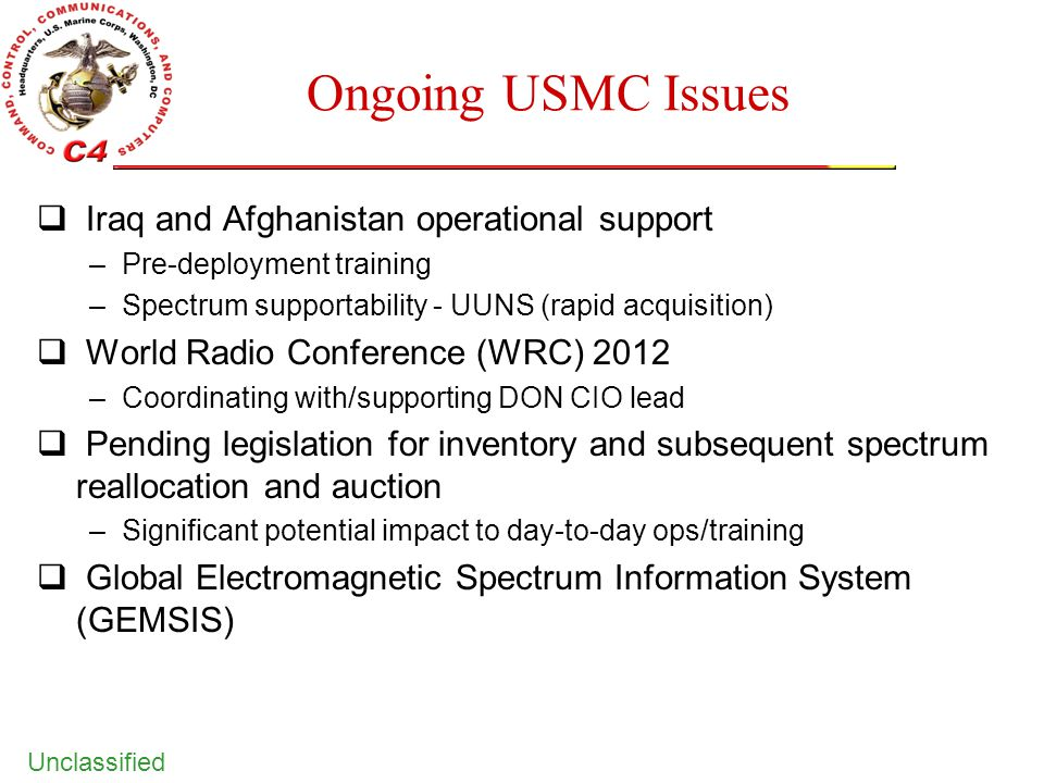 Ongoing USMC Issues Iraq and Afghanistan operational support