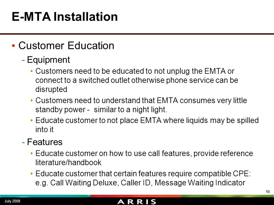 E-MTA Installation Customer Education Equipment Features