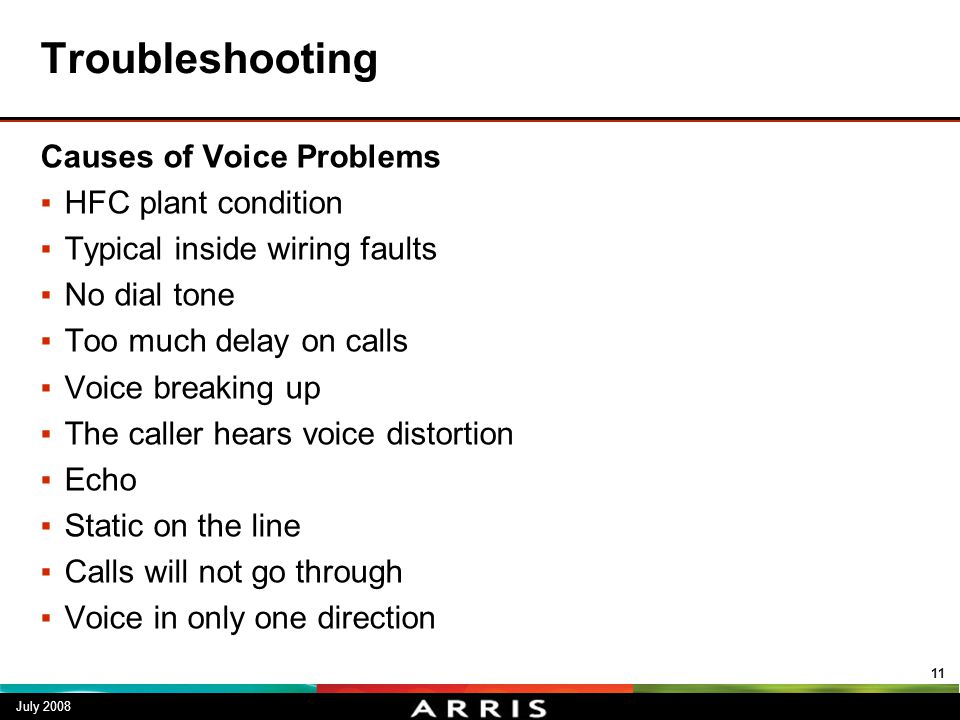 Troubleshooting Causes of Voice Problems HFC plant condition