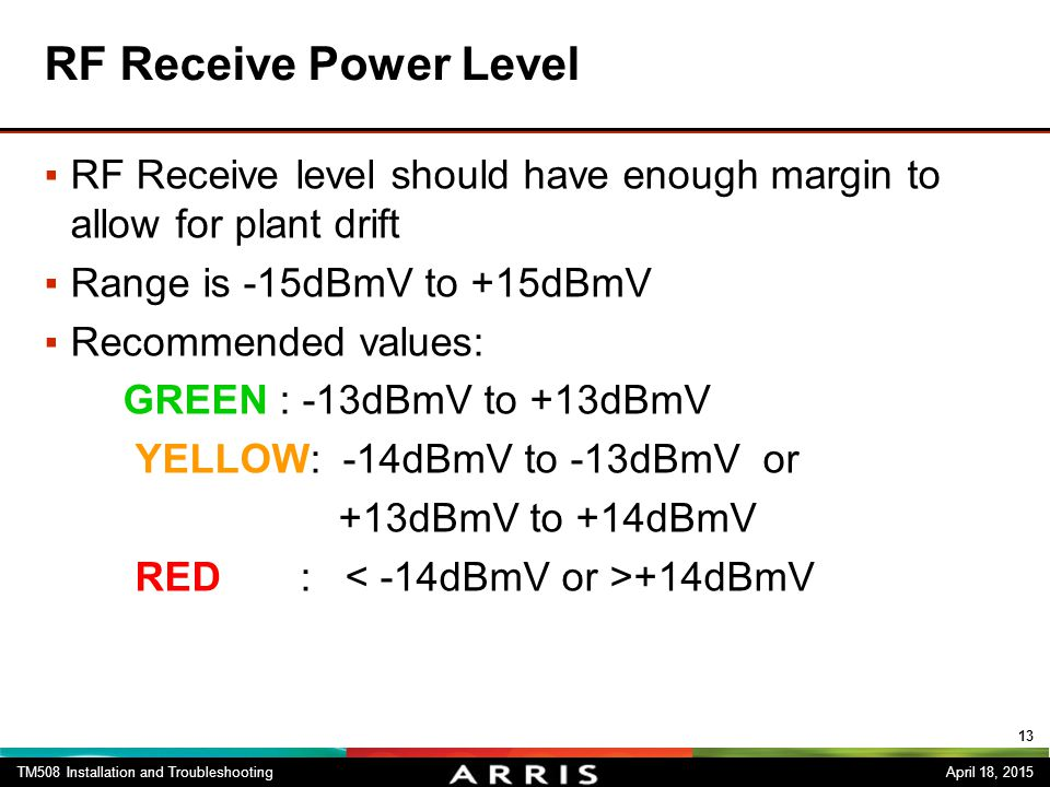 RF Receive Power Level RF Receive level should have enough margin to allow for plant drift. Range is -15dBmV to +15dBmV.