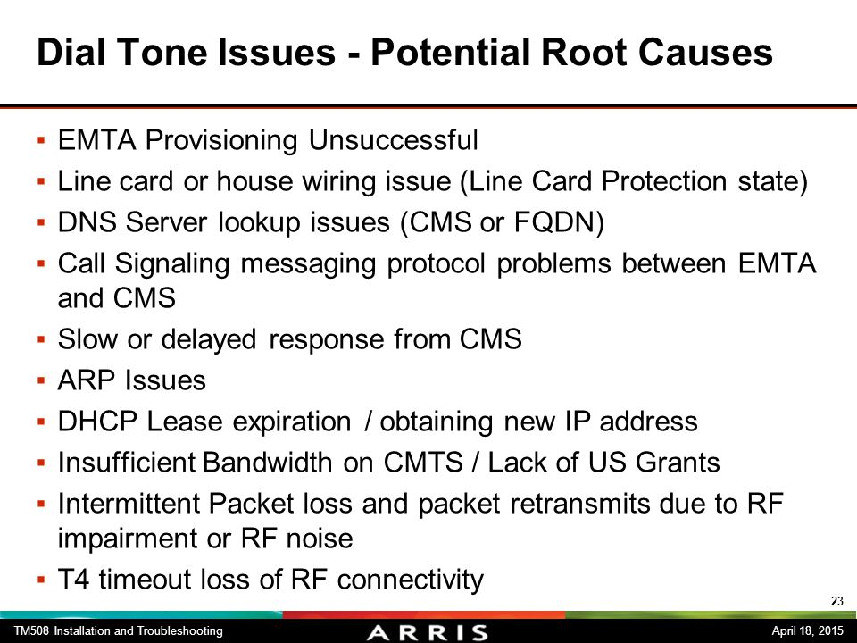 Dial Tone Issues - Potential Root Causes
