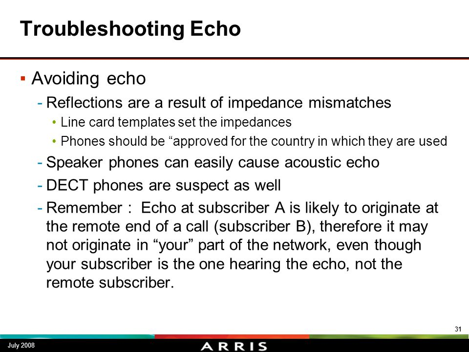 Troubleshooting Echo Avoiding echo