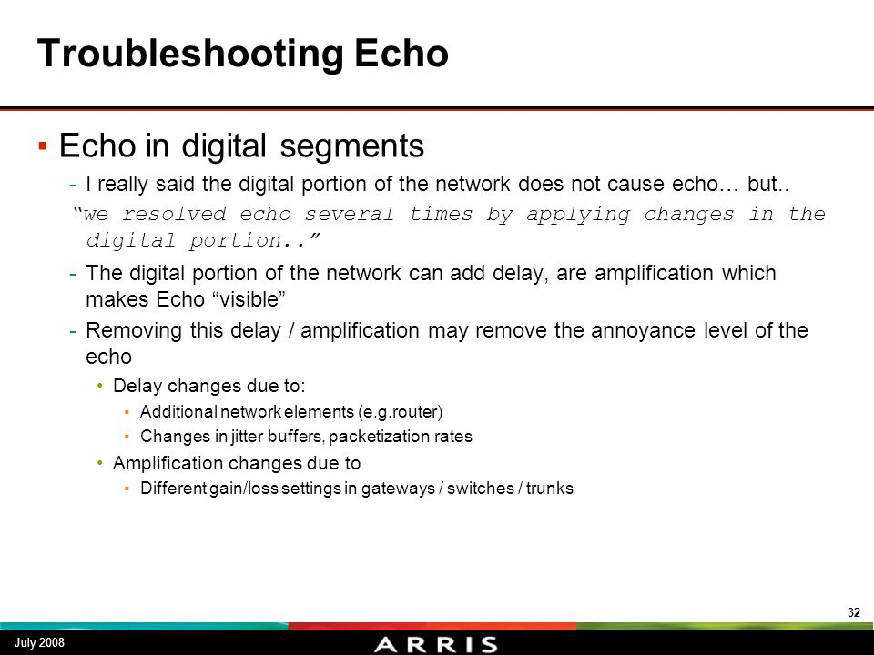 Troubleshooting Echo Echo in digital segments