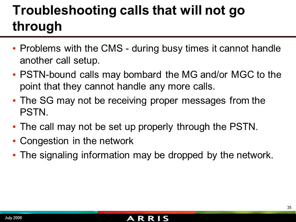 Troubleshooting calls that will not go through