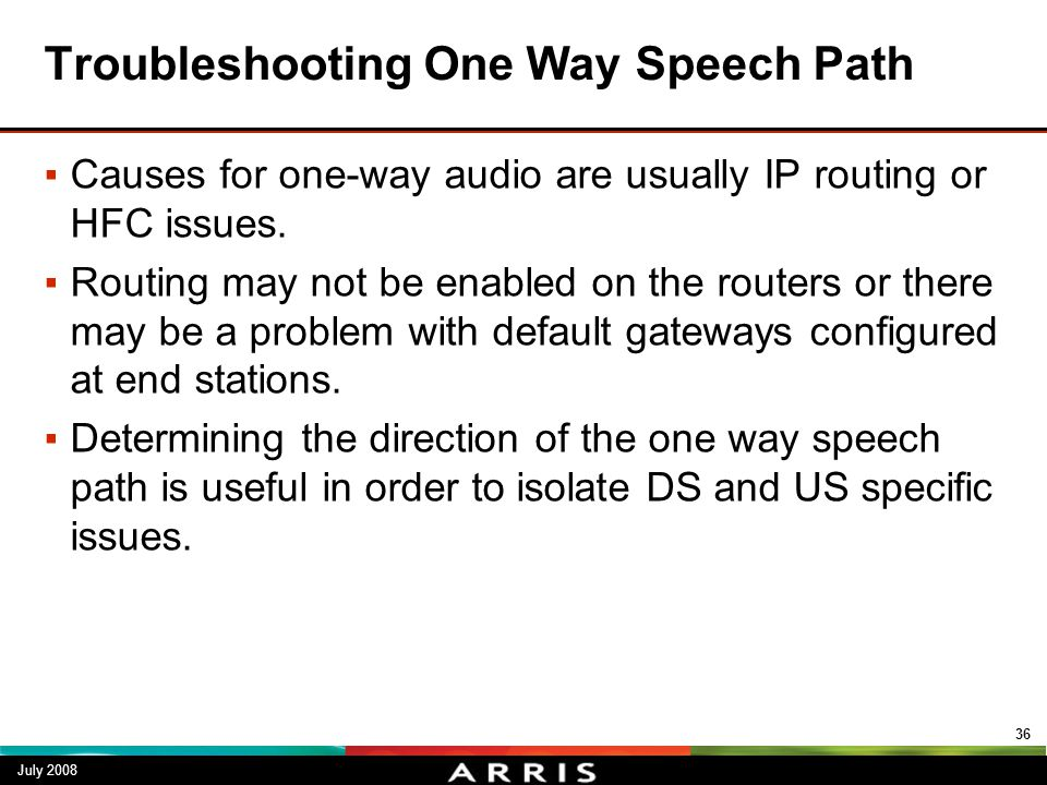 Troubleshooting One Way Speech Path
