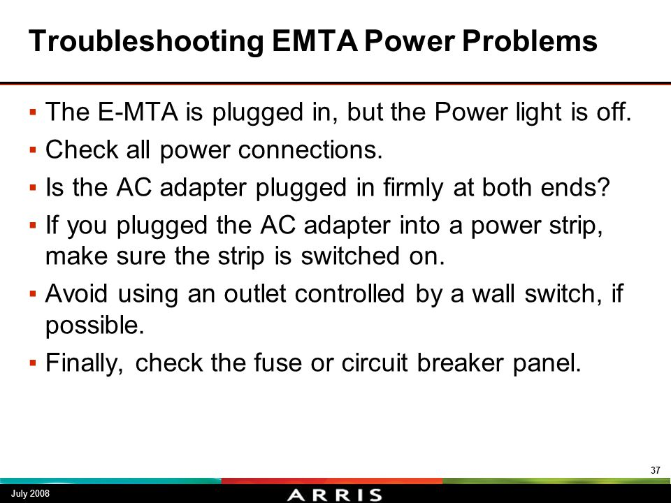 Troubleshooting EMTA Power Problems