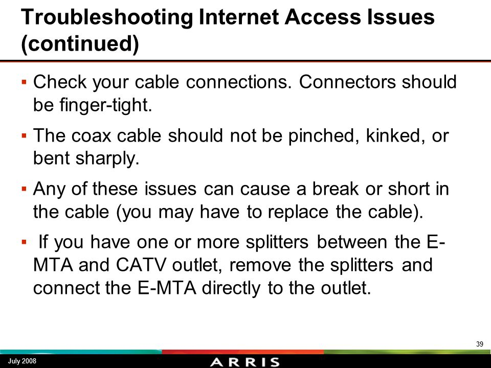 Troubleshooting Internet Access Issues (continued)