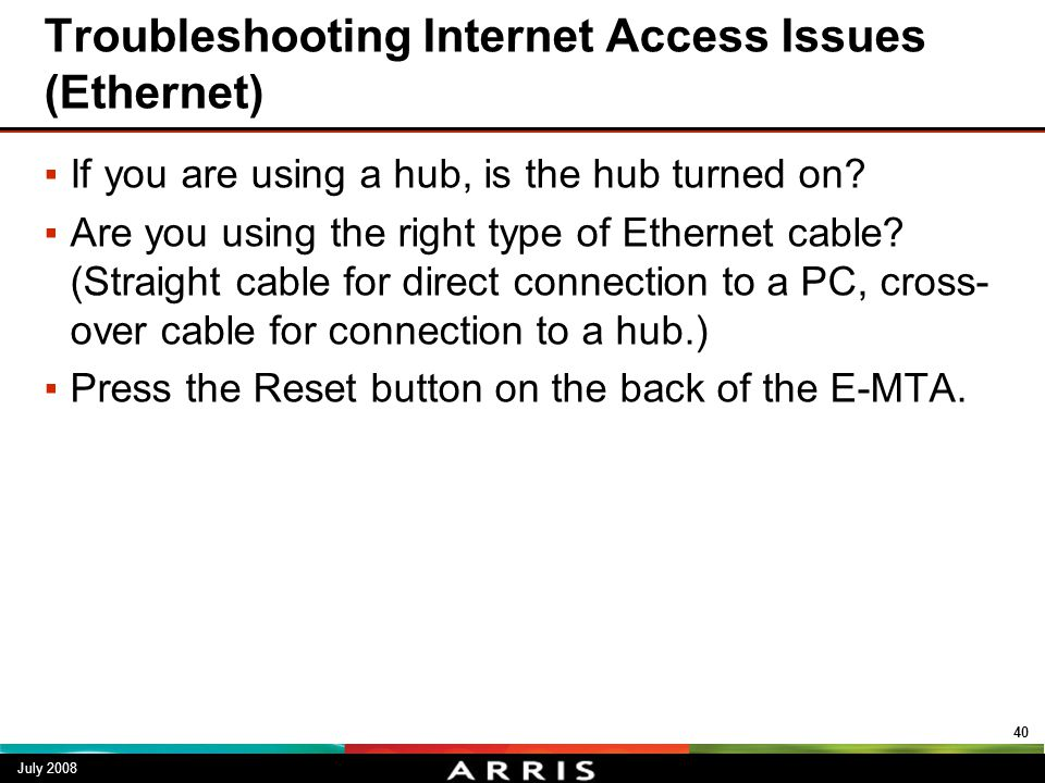 Troubleshooting Internet Access Issues (Ethernet)