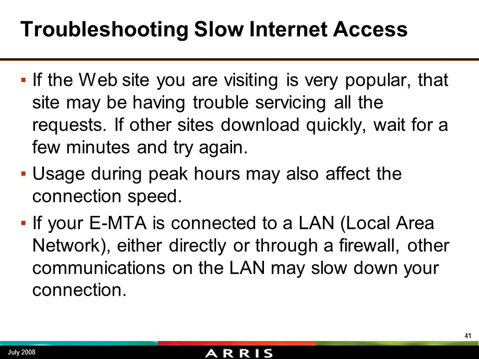 Troubleshooting Slow Internet Access