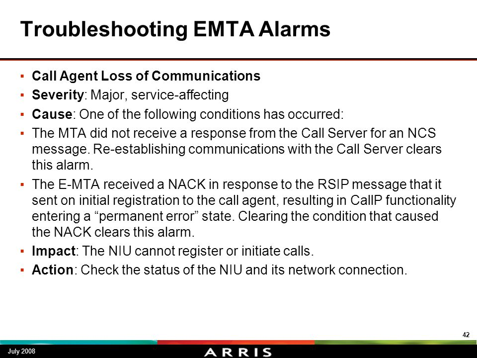 Troubleshooting EMTA Alarms