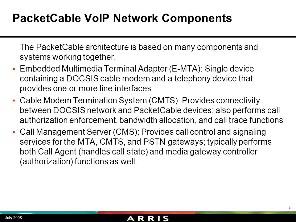 PacketCable VoIP Network Components