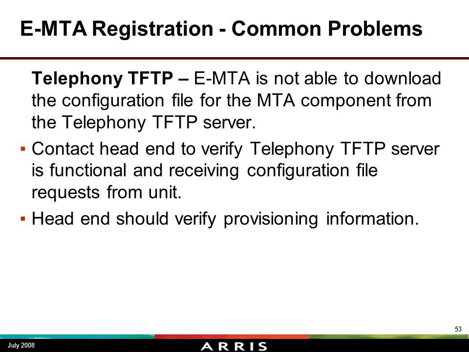 E-MTA Registration - Common Problems