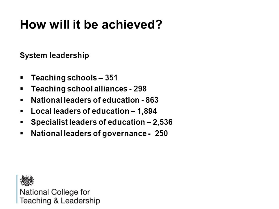 How will it be achieved System leadership Teaching schools – 351