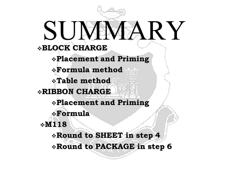 SUMMARY BLOCK CHARGE Placement and Priming Formula method Table method