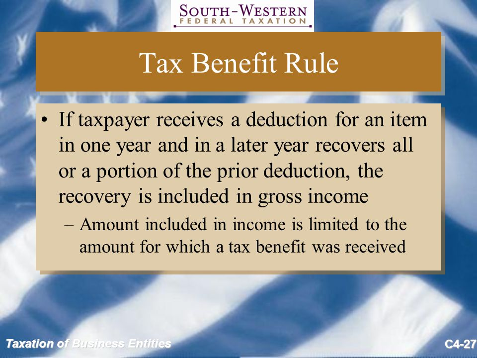 Tax Benefit Rule