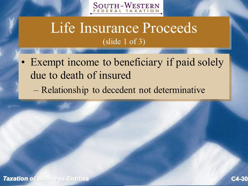 Life Insurance Proceeds (slide 1 of 3)