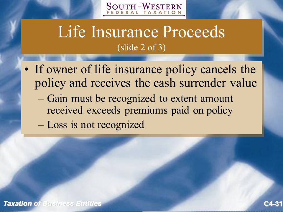 Life Insurance Proceeds (slide 2 of 3)