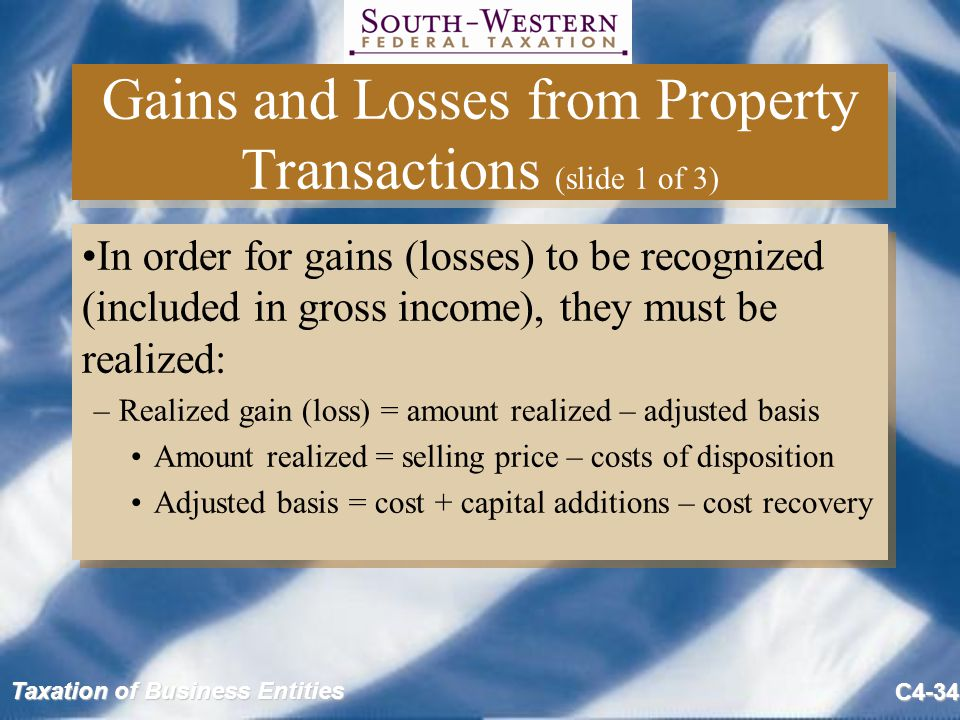 Gains and Losses from Property Transactions (slide 1 of 3)