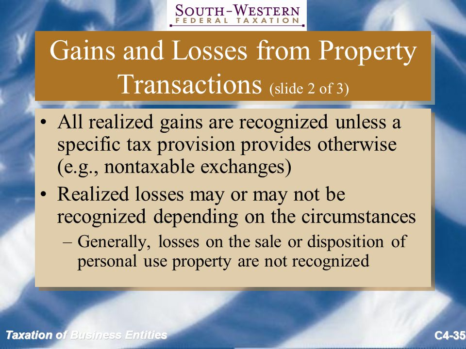 Gains and Losses from Property Transactions (slide 2 of 3)