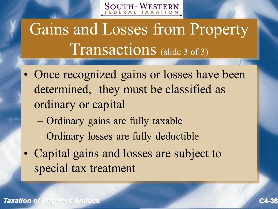 Gains and Losses from Property Transactions (slide 3 of 3)