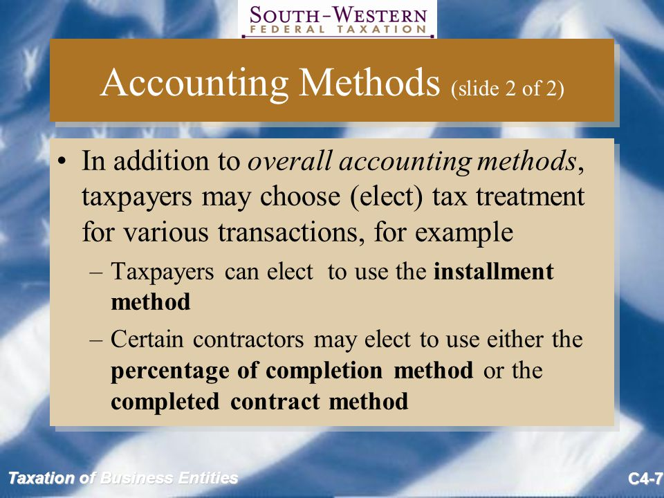 Accounting Methods (slide 2 of 2)