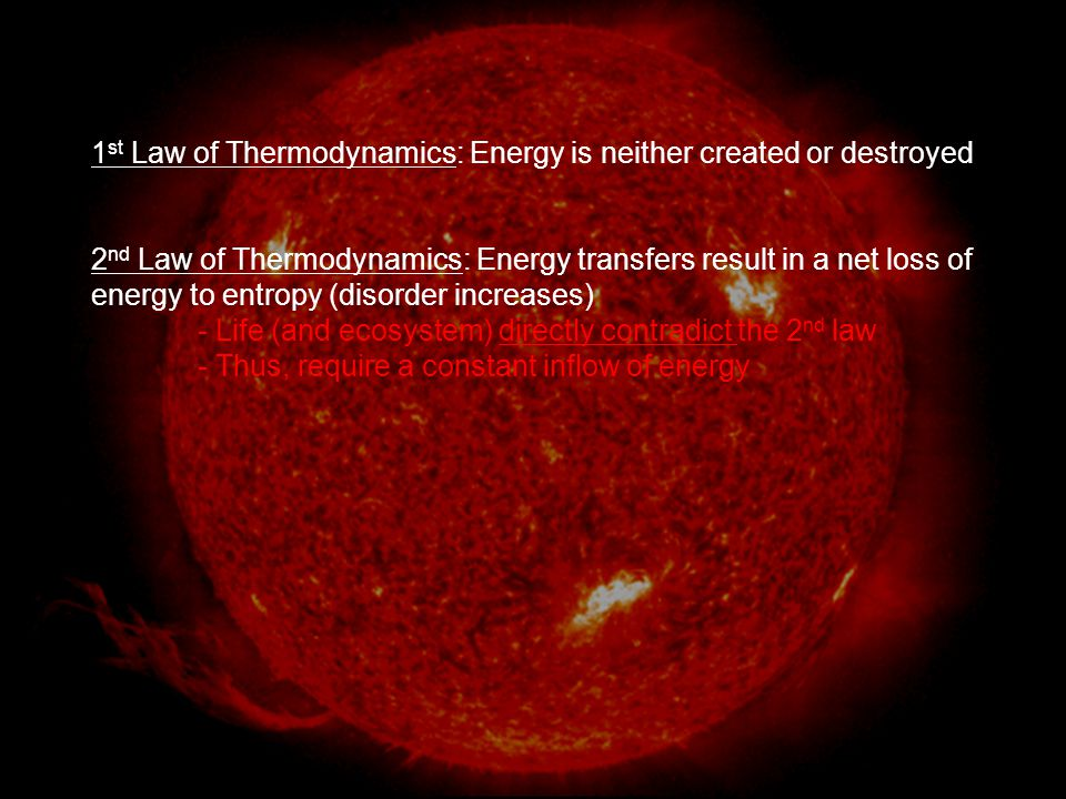 1st Law of Thermodynamics: Energy is neither created or destroyed
