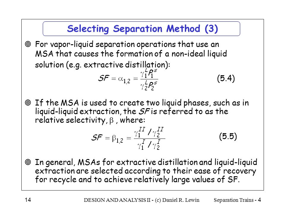 Selecting Separation Method (3)