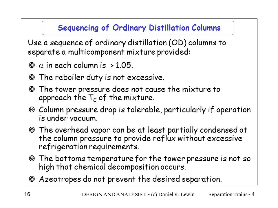 Sequencing of Ordinary Distillation Columns