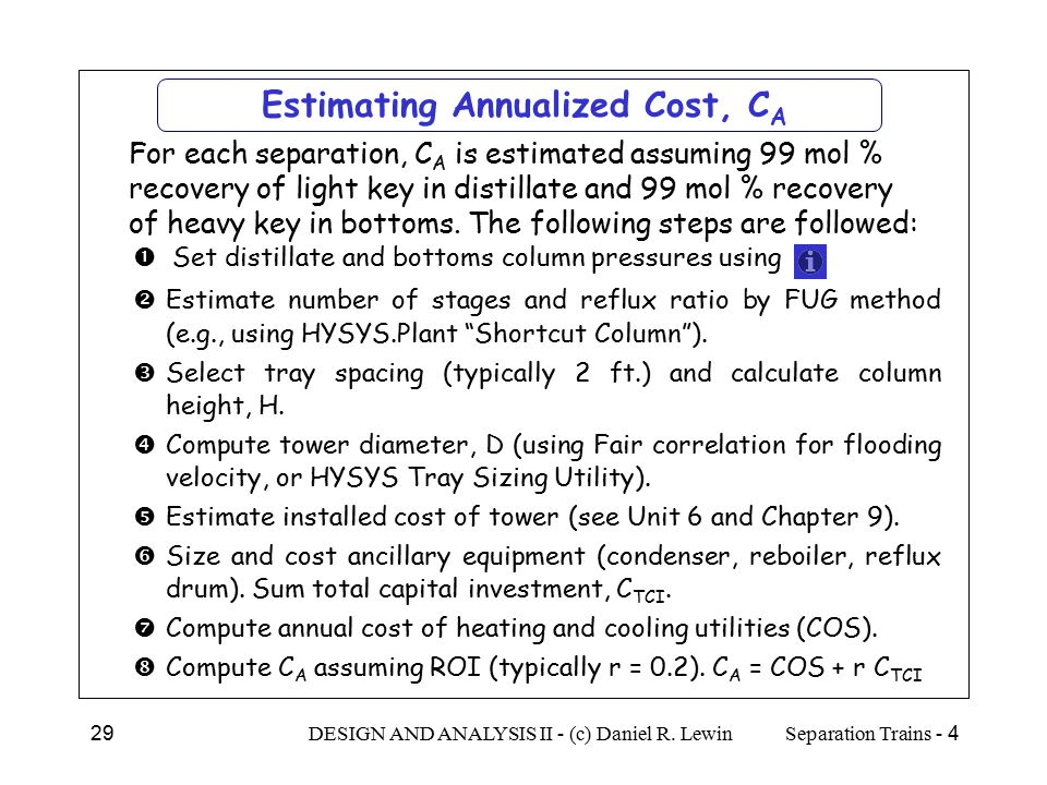 Estimating Annualized Cost, CA