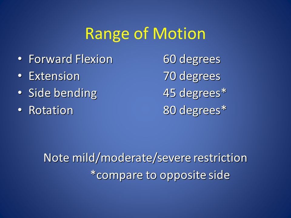 Range of Motion Forward Flexion 60 degrees Extension 70 degrees