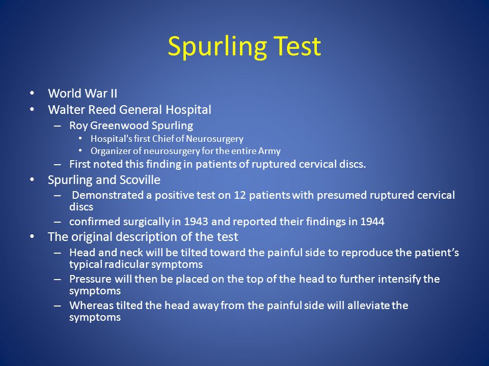 Spurling Test World War II Walter Reed General Hospital