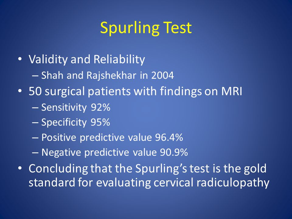 Spurling Test Validity and Reliability