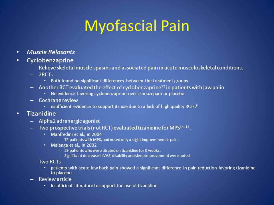 Myofascial Pain Muscle Relaxants Cyclobenzaprine Tizanidine