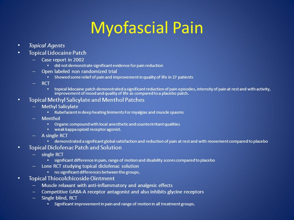 Myofascial Pain Topical Agents Topical Lidocaine Patch