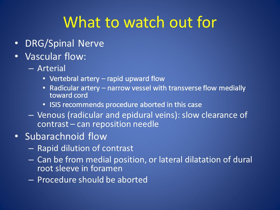 What to watch out for DRG/Spinal Nerve Vascular flow: