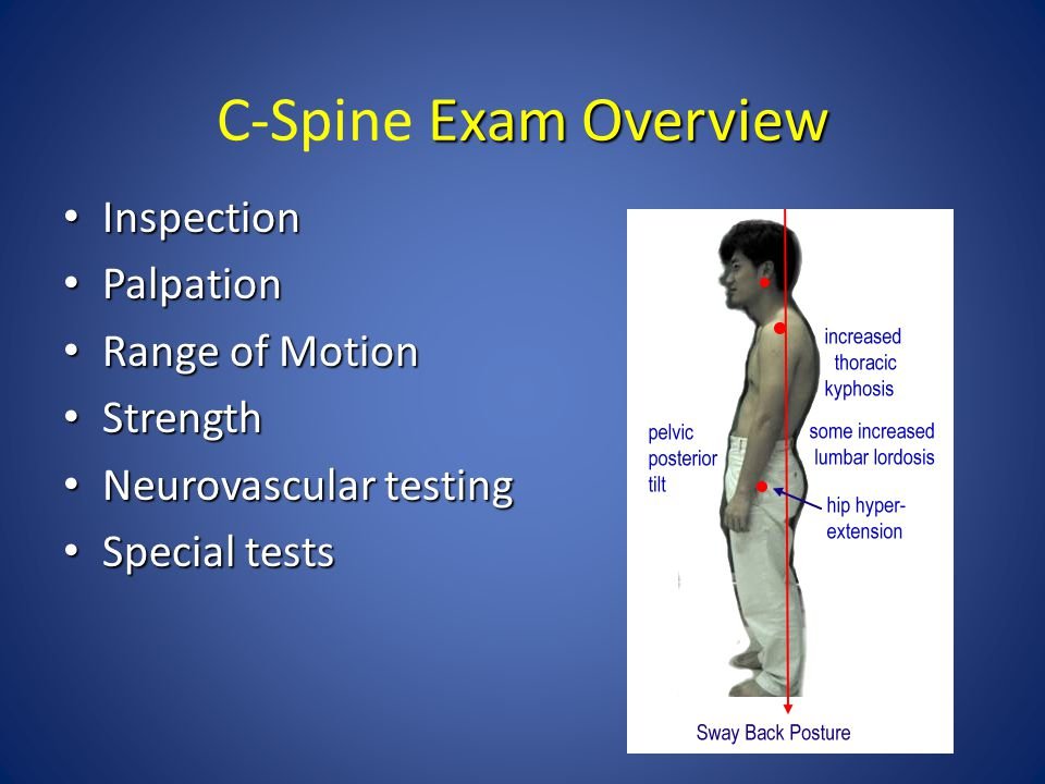 C-Spine Exam Overview Inspection Palpation Range of Motion Strength
