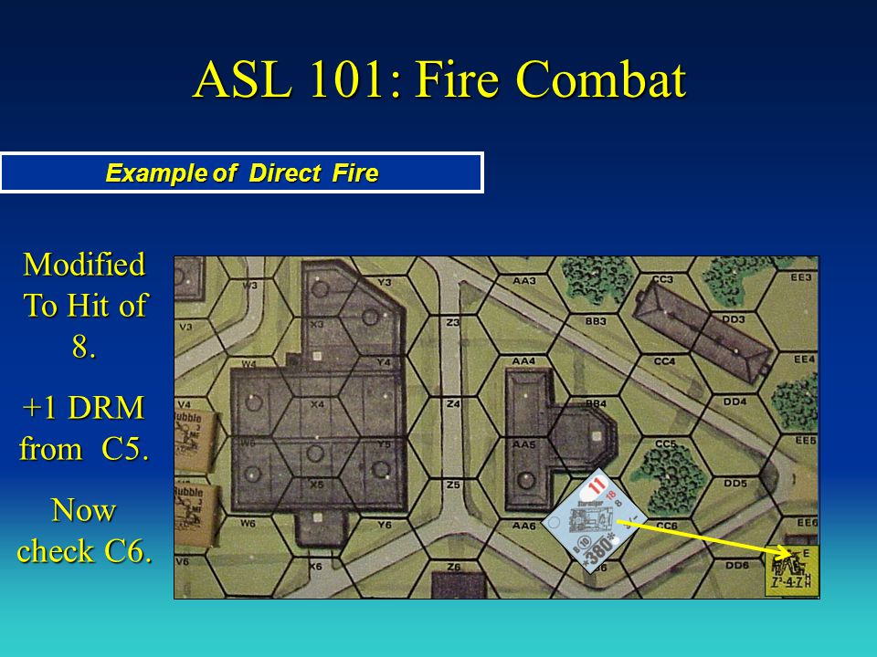 ASL 101: Fire Combat Modified To Hit of 8. +1 DRM from C5.